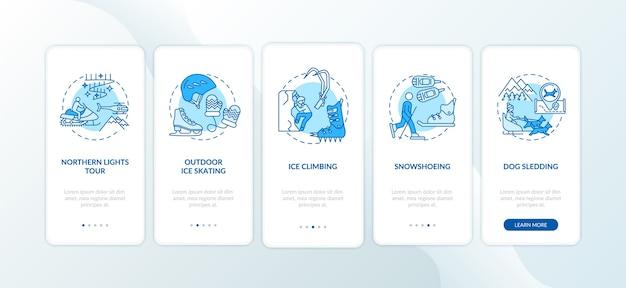 Winter outdoor-aktivitäten onboarding mobile app seite bildschirm mit konzepten