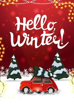 Winter rote postkarte mit kiefernwinterwald