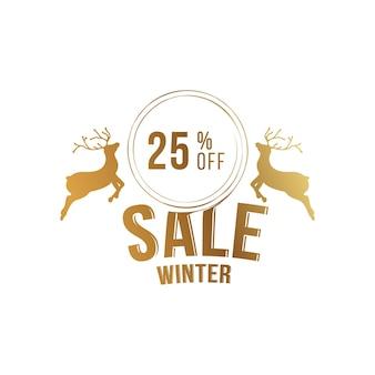 Winter sale 25 frohe weihnachten und ein glückliches neues jahr. grußkarte mit aufschrift und hirsch auf weißem hintergrund. flache vektorillustration eps10.