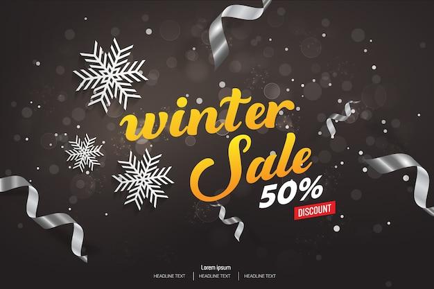 Winter sale 50% rabatt vektor hintergrund illustration