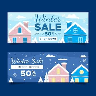 Winter sale banner in flachem design