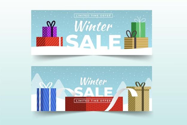 Winter sale banner mit flachen elementen gesetzt