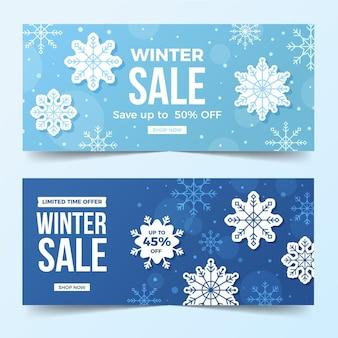 Winter sale banner mit flachen elementen packen