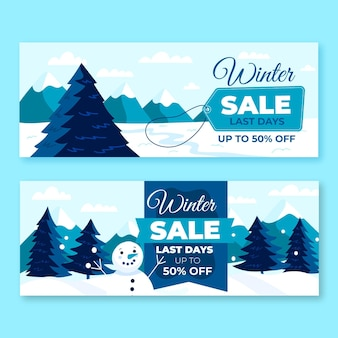 Winter sale banner mit handgezeichneten elementen gesetzt