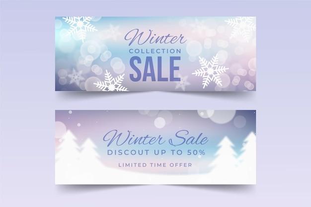 Winter sale banner mit verschwommenen elementen sammlung