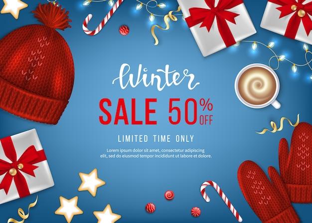 Winter sale banner poster flyer vorlage rabatt saisonales angebot realistische geschenkboxen