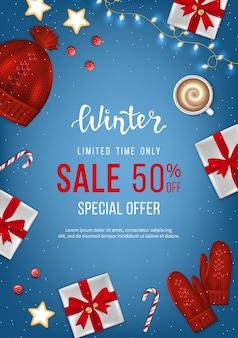 Winter sale banner poster flyer vorlage realistische geschenkboxen mit roten schleifen rabatt saisonales angebot