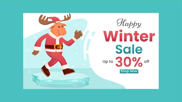 Winter sale banner rabatt mit mit flachen hirsch illustration