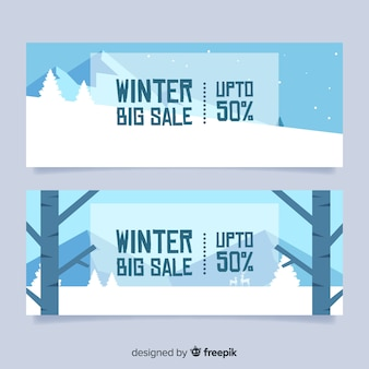 Winter sale geometrische landschaft banner