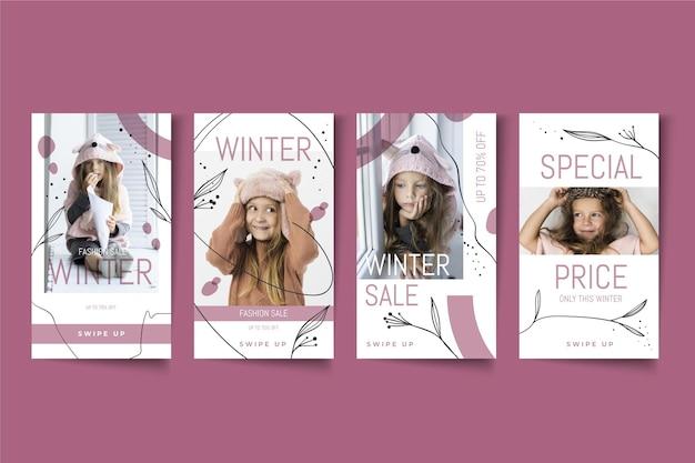 Winter sale instagram geschichten sammlung