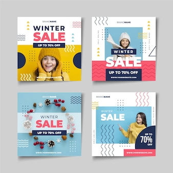 Winter sale instagram post sammlung