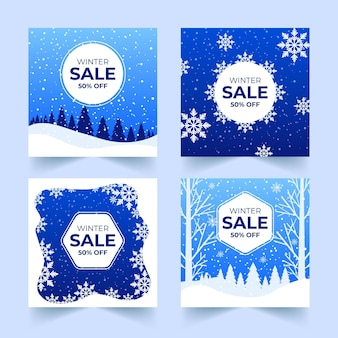 Winter sale instagram posts pack