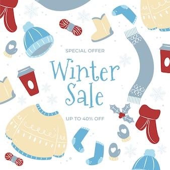 Winter sale promo mit gezeichneten elementen