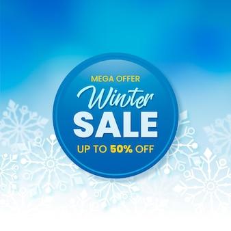 Winter sale promo mit realistischen elementen