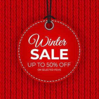 Winter sale red tag banner für saisonale einzelhandelswerbung.