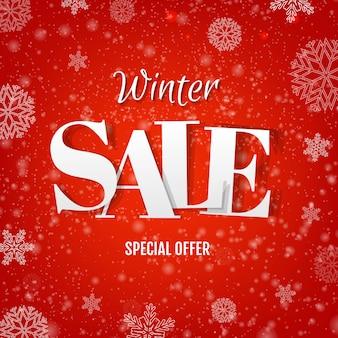 Winter sale rotes banner mit schnee