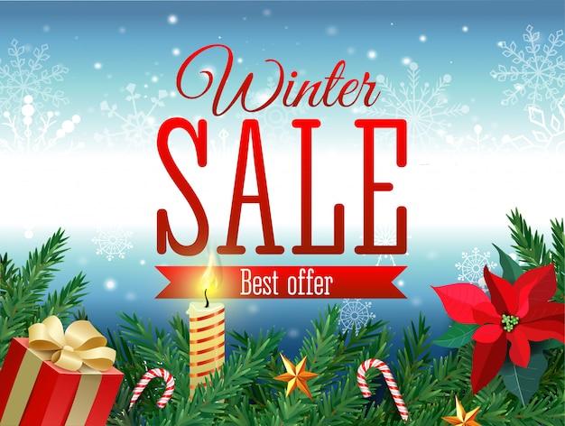 Winter sale tag. roter verkaufstag, der im weißen winterschneeflockenhintergrund für saisonale einzelhandelsförderung hängt. vektorillustration.