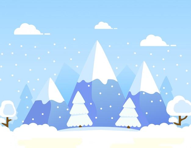 Winter schnee berg. wald ländliche landschaft kiefern und hügel schneefall.
