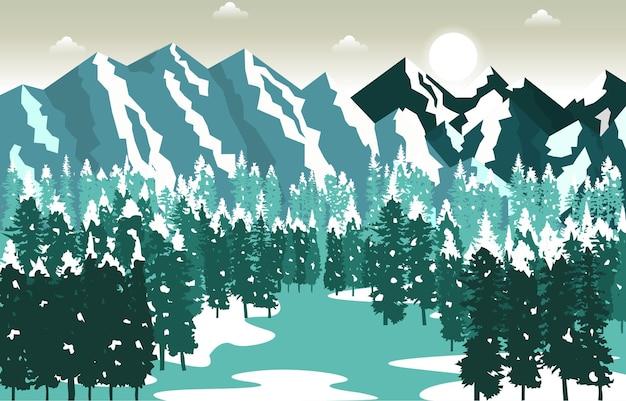Winter schnee berggipfel kiefer natur landschaft abenteuer illustration