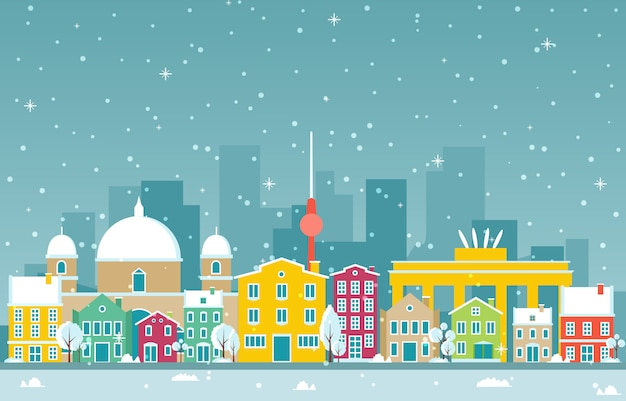 Winter-schnee in der berlin city cityscape skyline-markstein-gebäude-illustration