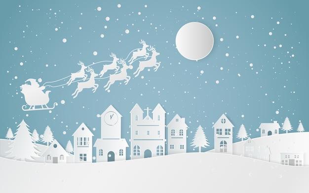 Winter-schnee-landschaftsstadt-guten rutsch ins neue jahr und frohe weihnachten, papierkunst und handwerksart.