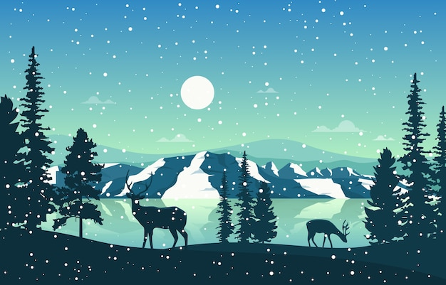 Winter schnee pine mountain lake schneefall natur landschaft illustration