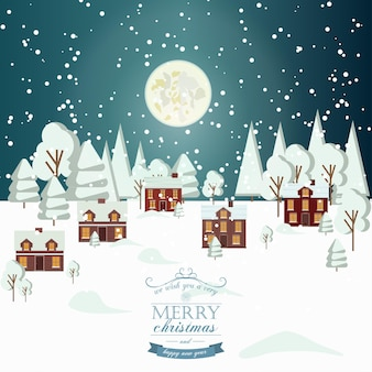 Winter schnee urban landschaft landschaft stadt dorf immobilien neujahr weihnachten nacht und tag hintergrund modernes flaches design weihnachten haus stil. vollmond