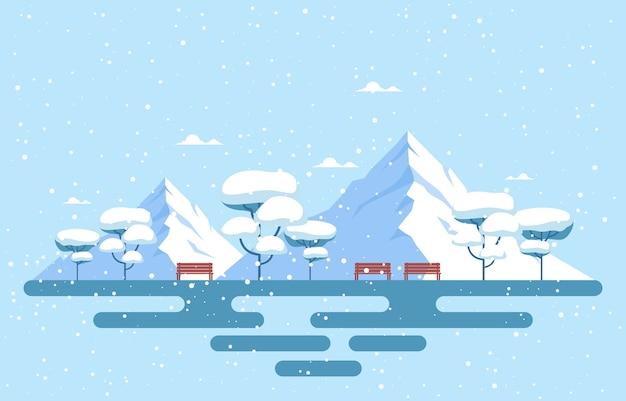 Winter schneebaum berg schneefall ländliche landschaft illustration