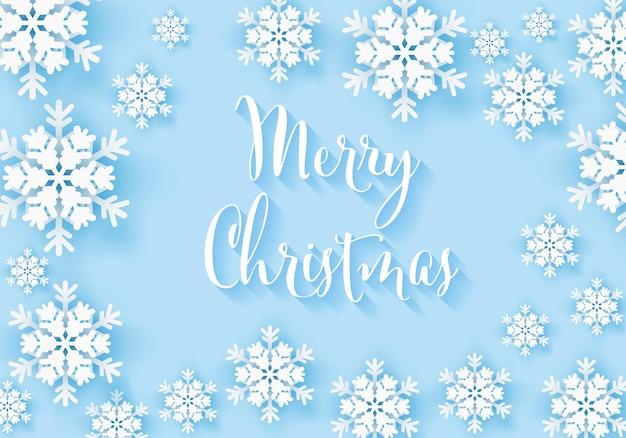 Winter-schneeflocke-gruß-banner mit blauem hintergrund frohe weihnachten weißen schnee einladungskarte