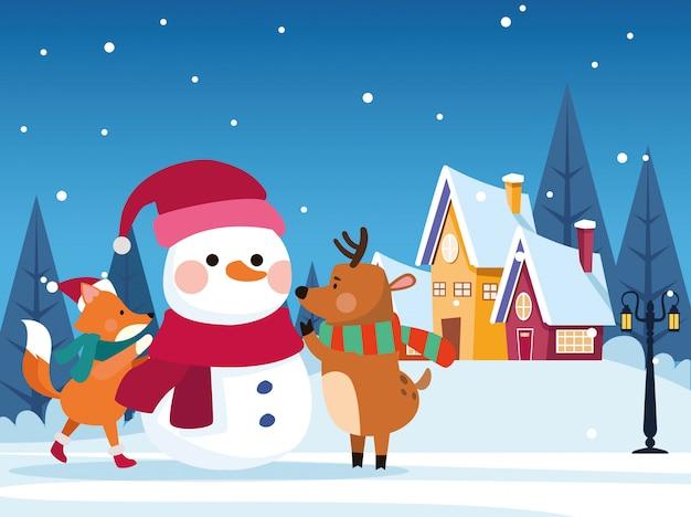 Winter schneelandschaft weihnachtsszene mit schneemann illustration