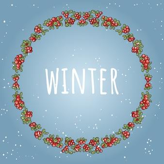 Winter-schriftzug in einem kranz