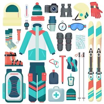 Winter-skiausrüstungsvektorikonen eingestellt. reisesport-bergaktivitätsausrüstung isoliert.