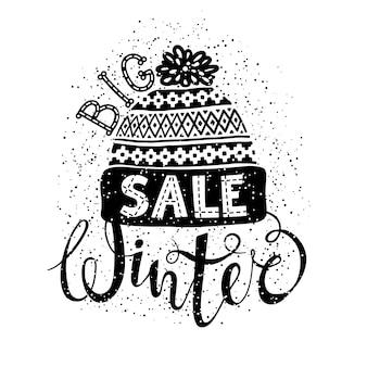 Winter special banner oder label mit einer strickmütze aus wolle