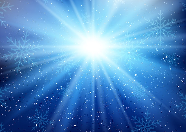 Winter starburst hintergrund mit fallenden schneeflocken