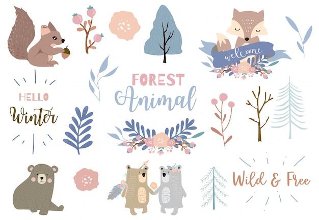 Winter stellte mit bären, fuchs, eichhörnchenillustrationssatz ein