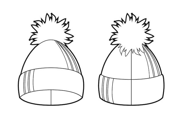 Winter strickmütze mit pompon schwarz-weiß-skizze winteraccessoires