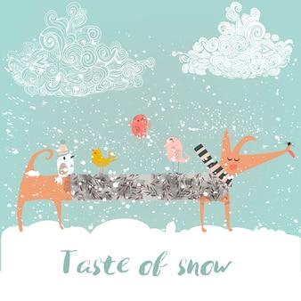 Winter süßer hund mit vögeln und schneeflocken