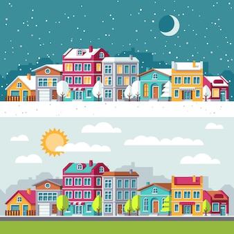 Winter- und sommerlandschaft mit stadt bringt flache vektorillustration unter. errichtende stadtbildarchitektur-stadtstraße