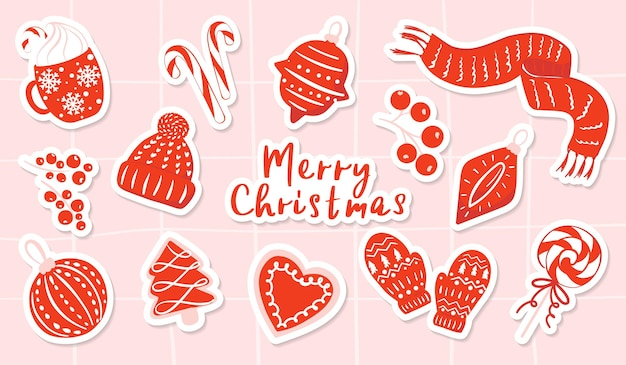 Winter- und weihnachtsaufkleber in roter farbe clipart-sammlung