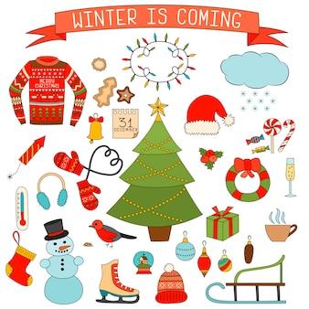 Winter- und weihnachtsikonen eingestellt. hand gezeichnete elemente