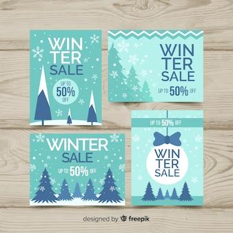 Winter-verkauf flache etiketten