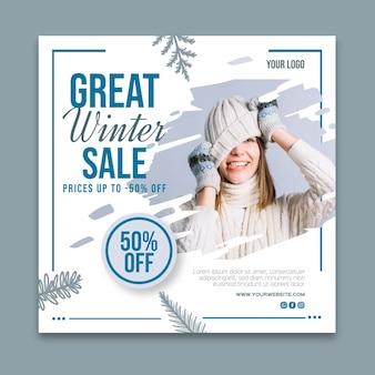 Winter verkauf quadratische flyer vorlage