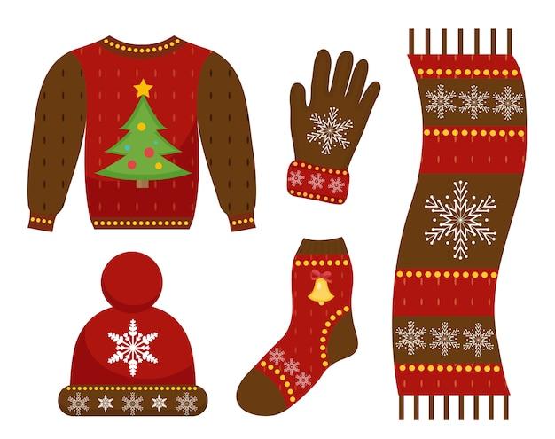 Winter warmes kleidungsikonen-set, flacher stil. weihnachtskleidung, bekleidungskollektion mit mustern. mütze, schal, handschuhe, pullover. auf weißem hintergrund isoliert. illustration.