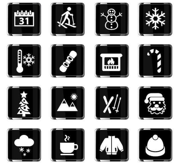 Winter-websymbole für das design der benutzeroberfläche