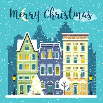 Winter weihnachten geschmückte straßenlandschaft. städtische zusammensetzung der verschneiten stadt. karussellillustration der frohen weihnachtskarte.