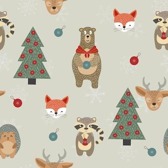 Winter weihnachten toytree und schneeflocke nahtloses muster.