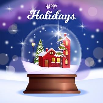 Winter weihnachten und frohes neues jahr illustration mit schneekristallkugel, kleines rotes haus, kiefer. weihnachtsferienpostkarte mit glaskugel, tanne, drifts. festliches banner mit kristallkugel-souvenir