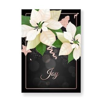 Winter-weihnachtsblumen-gruß-karte. floral poinsettia retro hintergrund, design-vorlage für die feiertagsfeier mit rose gold glitter star, neujahrsbroschüre in vektor