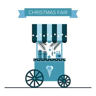 Winter weihnachtsmarkt eis- und süßigkeitenwagen souvenirstände souvenirläden