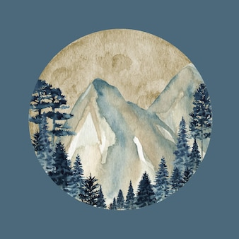 Winter wild forest mountains, aquarell wilde naturlandschaft
